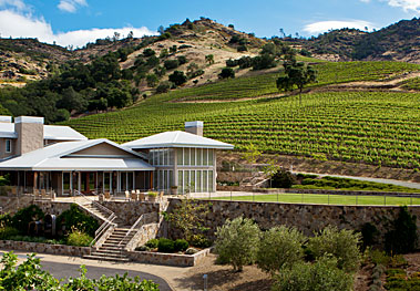 Shafer tasting room in vineyard