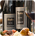 Shafer wine bottles and food