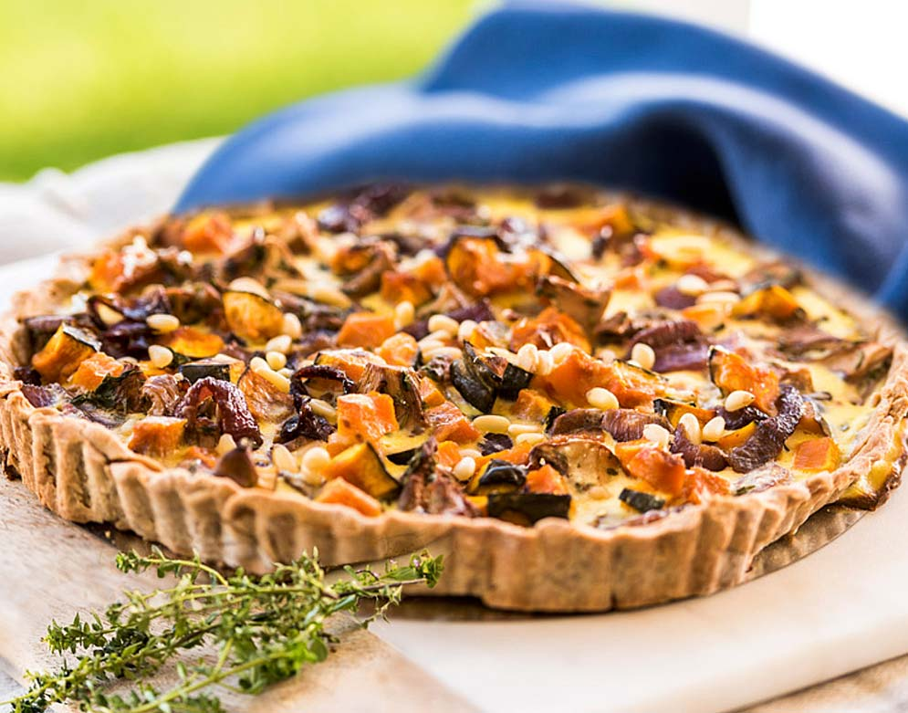 Kabocha Squash Tart with Caramelized Onions and Golden Chanterelles